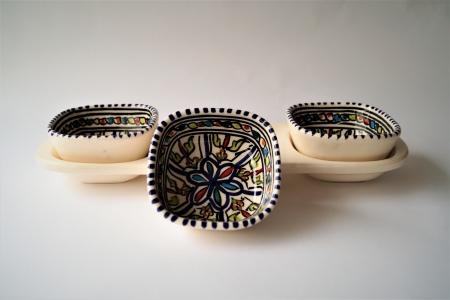 Tapas schaaltjes, handbeschilderd in Tunesie