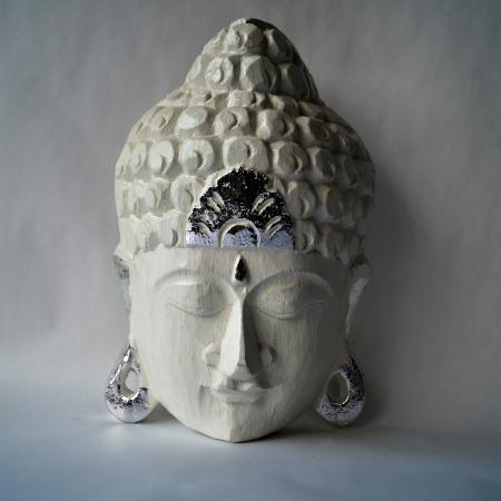 Boedhha van hout, wit, zilver, Thailand